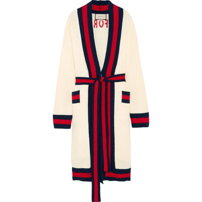 Gucci Embellished Striped Cotton-Blend Terry Cardigan