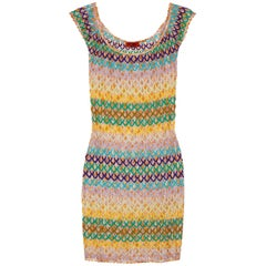 Colorful Missoni Crochet Knit Mini Dress