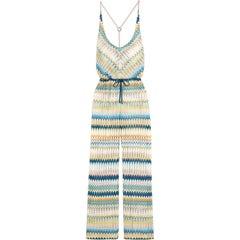 Missoni Multicolor Signature Crochet Knit Wide Leg Jumpsuit
