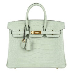 Hermes Birkin 25 Bag Vert D'Eau Matte Alligator Gold Hardware Very Rare