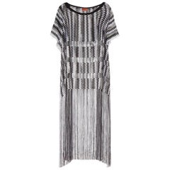 Missoni Monochrome Signature Fringe Crochet Knit Dress Kaftan Gown