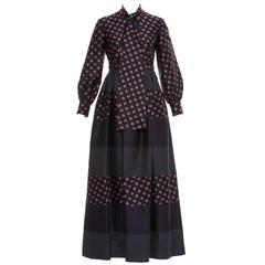 Geoffrey Beene Polkadot Silk Dress, Circa 1970's