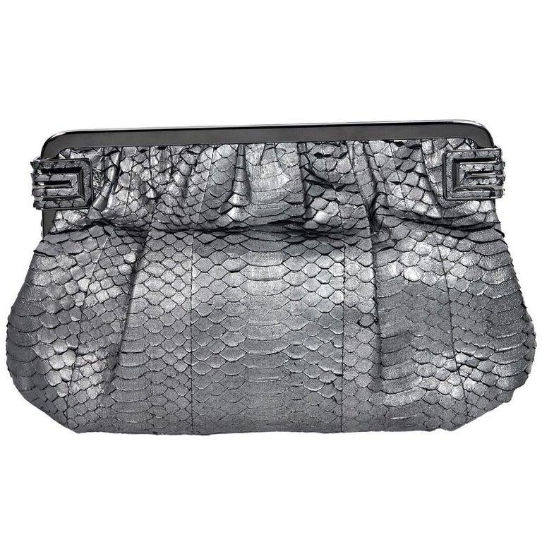 Metallic Silver Judith Leiber Snakeskin Clutch