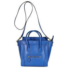 Blue Celine Nano Luggage Satchel