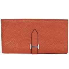 Orange Hermes Bearn Epsom Leather Wallet