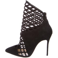 Christian Louboutin NEW Black Suede Evening Cut Out Ankle Boots Booties in Box