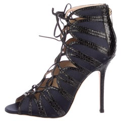 Jimmy Choo NEW Midnight Blue Black Satin Snakeskin Tie Up Ankle Boots Booties