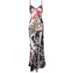 Unworn 2000's John Galliano Newsprint Silk Slip Gown Dress