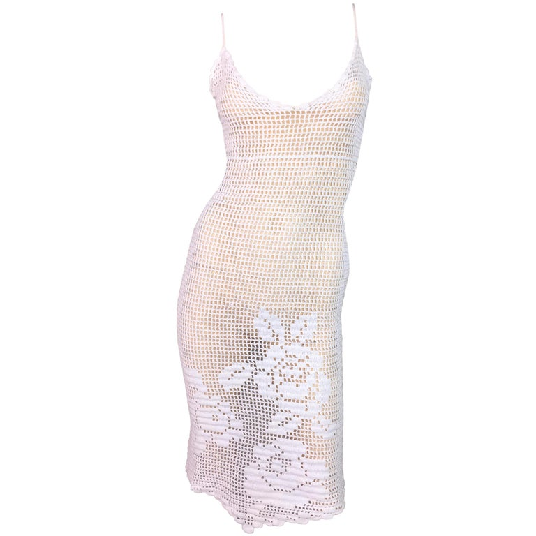 1994 Dolce & Gabbana Sheer White Crochet Floral Plunging Wiggle Dress For Sale