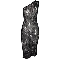 S/S 2003 D&G Dolce & Gabbana Runway Sheer Black Distressed Knit Mini Dress