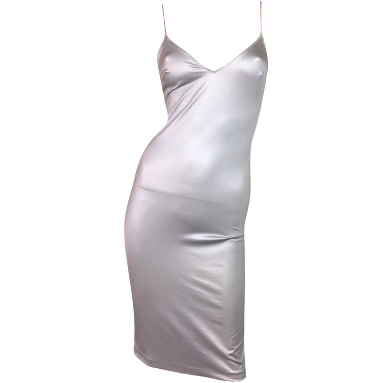 1990's Dolce & Gabbana Liquid Silver Chain Strap Slinky Slip Dress For Sale