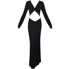 2002 Gucci by Tom Ford Long Black Cut-Out L/S Gown Dress