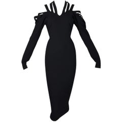 Vintage 1980's Jean Paul Gaultier Off Shoulder Bondage Straps Wiggle Black Dress