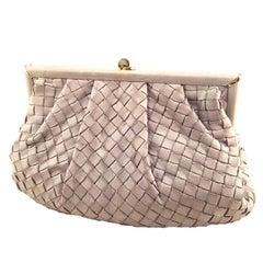 Bottega Veneta Vintage Grey Woven Leather Shoulder Bag
