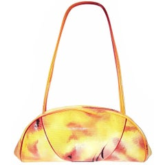 Christian Dior Orange Multi Color Leather Shoulder Bag