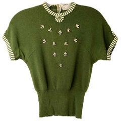1950s Avocado Green Studded Wool Knit Sweater