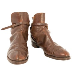 1930s Medium Brown Leather Paddock Boots