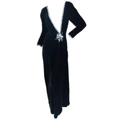 Fabrice for Amen Wardy 1980's Low Cut DIsco Era Silk Velvet Evening Dress