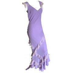 John Galliano 2005 Lavender Silk Bias Cut Ruffled Evening Dress