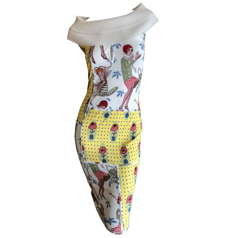 John Galliano 2004 Yellow Silk Flower Pot Pattern Knit Dress  For Sale