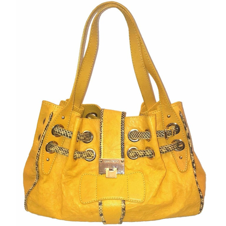 Jimmy Choo Snakeskin Trimmed Yellow Riki Bag With Two Flat Handles