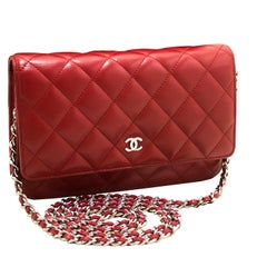 CHANEL Red WOC Wallet On Chain Shoulder Crossbody Bag Clutch Lamb