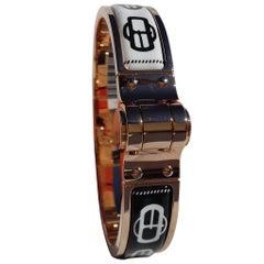 Hermès Charnière Hinged Enamel Bracelet Bouclerie Moderne Rosé GHW Narrow Size S
