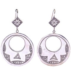 Large Berber Silver Moroccan Cut Out Round and Diamond Shaped Drop Hoop Earrings