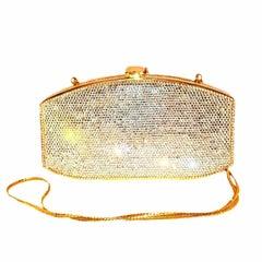 Judith Leiber Silver Tone Swarovski Minaudiere Evening Bag W/ Gold Tone Trim