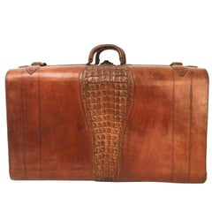 1930's Crocodile and Leather Suitcase