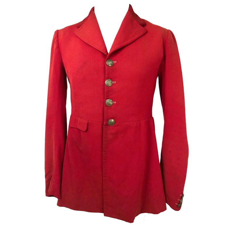 1930s Red Equestrian Coat with Solid Brass Buttons