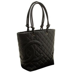CHANEL Cambon Tote Small Shoulder Bag Black Quilted Calfskin Zip