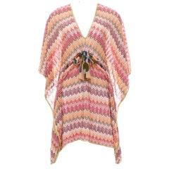 Stunning Missoni Multicolor Gold Metallic Lurex Crochet Knit Kaftan Tunic Dress
