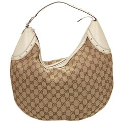 Gucci Brown x Beige x White Guccissima Jacquard Hobo Bag