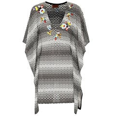 Missoni Embroidered Monochrome Signature Crochet Knit Dress Kaftan