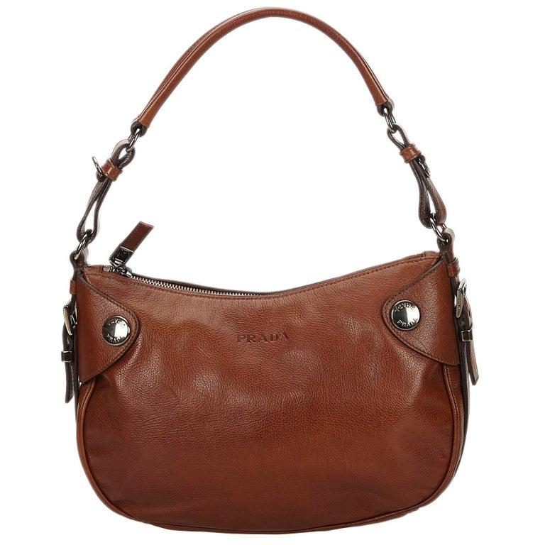 3f32cd925bb1 Prada Brown x Dark Brown Leather Hobo Bag at 1stdibs