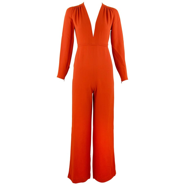 a4441fc0450 Stella McCartney Burnt Orange Long Sleeve Jumpsuit - IT 36 For Sale ...