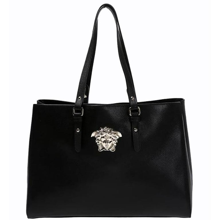 706e26c28b New VERSACE Palazzo Shopping Bag in Black Leather For Sale at 1stdibs