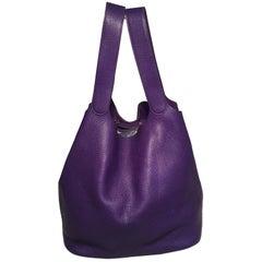 Hermes Purple Clemence Leather Picotin TGM Handbag