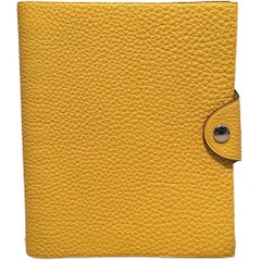 Hermes Yellow Clemence Leather Notebook