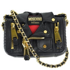 Moschino Black Mini Leather Moto Jacket Shoulder Bag