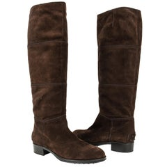 Tod's Boot Brown Suede Flat Knee High 38.5 / 8.5 new