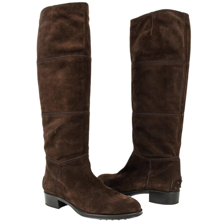 Tod's Boot Brown Suede Flat Knee High 38.5 / 8.5 new For Sale