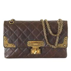 Chanel Medium Double Flap Distressed Leather Antique Brass Shanghai Bag
