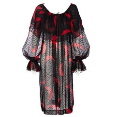 1970s Yves Saint Laurent Red & Black Crescent Moon Ruffle Peasant Dress