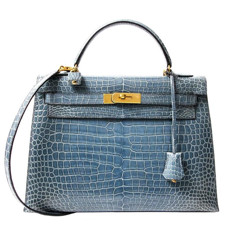 Rare Hermes Blue Jean Porosus Crocodile 32 Kelly GHW For Sale