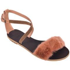 Brunello Cucinelli Womens Tan Leather Mink Fur Flat Sandals