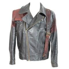 Giorgio Armani Biker Leather Vintage Jacket Black Chiodo, 1980s