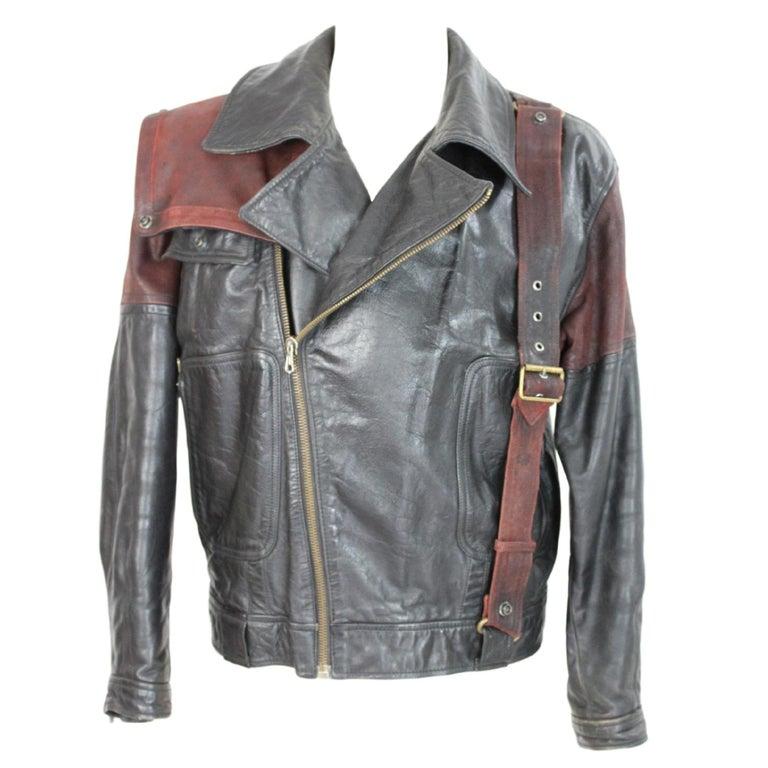Giorgio Armani Biker Leather Vintage Jacket Black Chiodo, 1980s For Sale