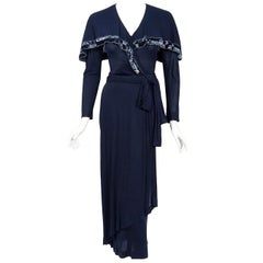1977 Jean Muir Beaded Sequin Navy Silk-Jersey Capelet Plunge Belted Dress w/Tags